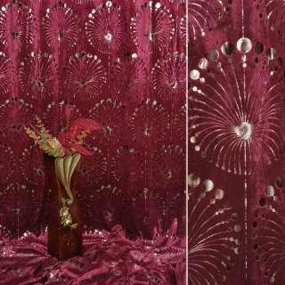 Вельбоа портьерный бордовый фейерверк (штамп) ш.155 оптом