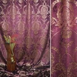 Вельбоа портьерный вишневый темный с золотистыми вензелями (штамп) ш.155 оптом