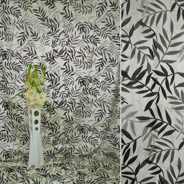 Вельбоа портьерный кремовый в листья (штамп) ш.155 оптом