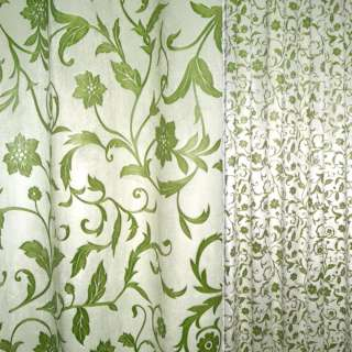 вельбоа порт. молочный в зеленые цветы  (штамп) ш.155 оптом