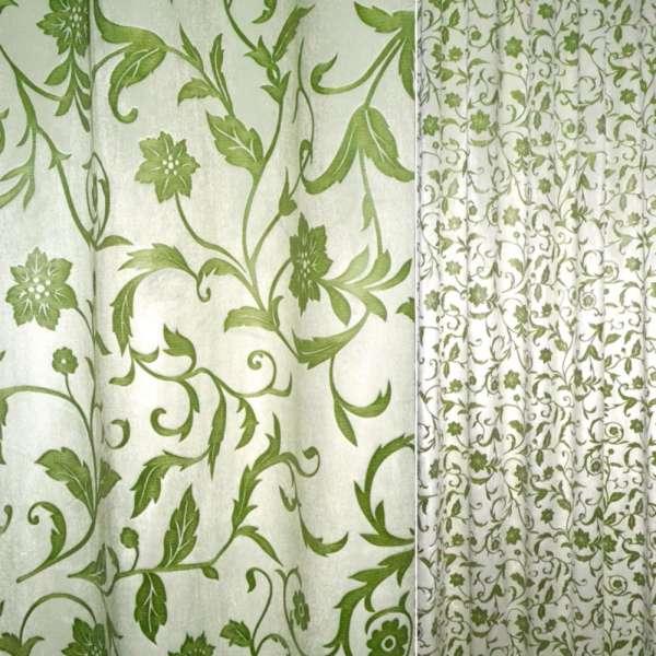Вельбоа портьерный молочный в зеленые цветы (штамп) ш.155 оптом