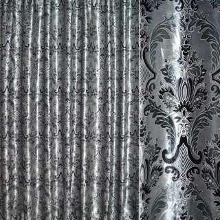 Оксамит портьєрний сріблястий з бірюзово-чорним вензелем ш.28 оптом