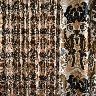 бархат порт. белый с коричневыми цветами ш.280 оптом