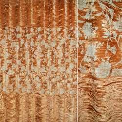 Велюр жатый коричневый светлый с цветами ш.270