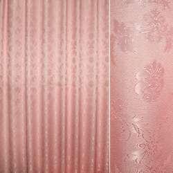 Жаккард портьерный петлевидный розовый с цветочным узором ш.280