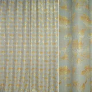 Жаккард портьерный бледно-голубой с желтыми цветами с отливом ш.280 оптом
