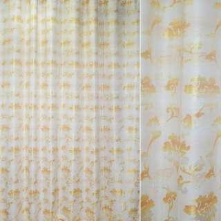 ткань порт.жакк.молочная с желтыми цветами с отливом оптом