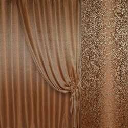 """Жаккард портьерный """"песок"""" коричнево-рыжий с золотистым оттенком, ш.280 оптом"""