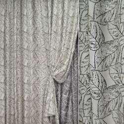 Жаккард портьерный серебристый с черными листьями, ш.280