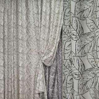 жаккард порт. серебристый с черными листьями, ш.280 оптом