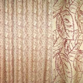 жаккард порт. кремовый с бордовыми листьями, ш.280 оптом