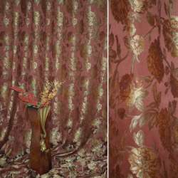 Жаккард портьерный с веточками роз бордовый ш.290 оптом