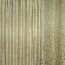 """Атлас жаккардовый бежево-серый с золотисто-зеленым """"испанский дворик"""" ш.280"""