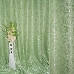 """Атлас жаккардовый 2-ст. зеленый светлый """"испанский дворик"""" ш.280 оптом"""