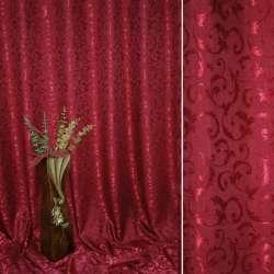 """Атлас жаккардовый 2-ст. """"испанский дворик"""" вишневый ш.280 оптом"""