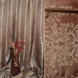 """Атлас жаккардовый 2-ст. коричнево-золотистый """"деревья"""" ш.280"""