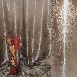 """Атлас жаккардовый 2-ст. коричневый светлый """"деревья"""" ш.280"""