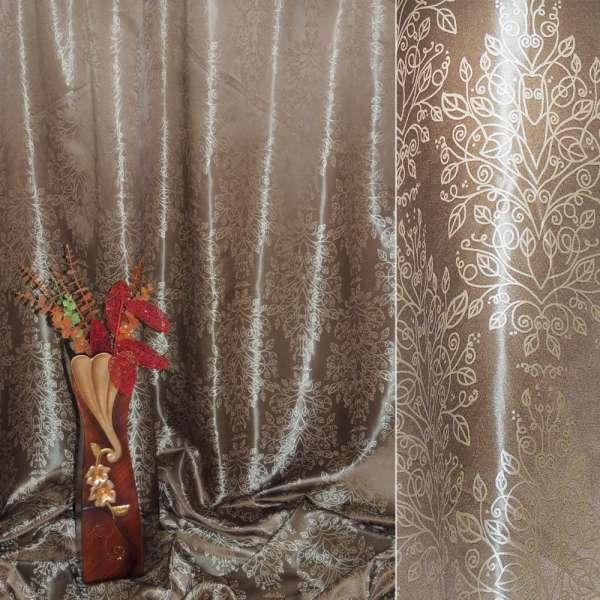 """Атлас жаккардовый 2-ст. коричневый светлый """"деревья"""" ш.280 оптом"""