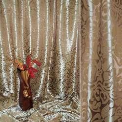 """Атлас жаккардовый 2-ст. коричневый светлый """"крупные тюльпаны"""" ш.280"""