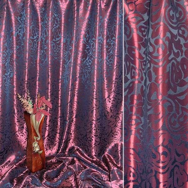 """Атлас жаккардовый 2-ст. бордово-черный """"крупные тюльпаны"""" ш.280 оптом"""