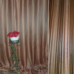 """Атлас жаккардовый 2-ст. коричнево-золотистый """"полоска"""", ш.280 оптом"""