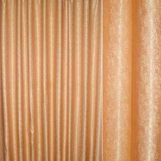 атлас жак.2-х стор.оранж-золот в ажурные завитки ш.280 оптом