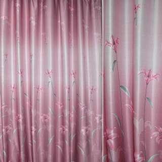 ткань порт. рельефная розовая с лилиями ш.270 оптом