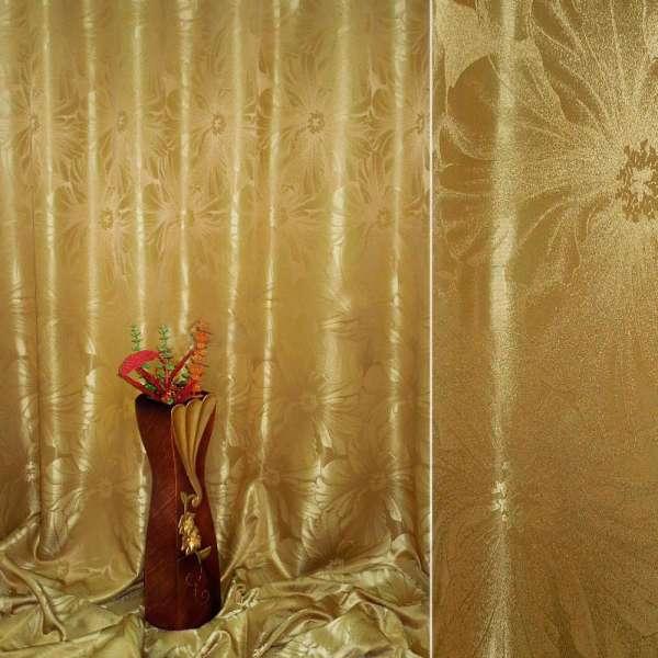 "Атлас жаккардовый 2-ст. горчично-золотистый ""цветы"", ш.280 оптом"