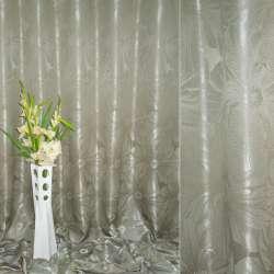 """Атлас жаккардовый 2-ст. темно-оливковый """"цветы"""", ш.280"""
