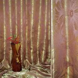 """Атлас жаккардовый 2-ст. сиренево-золотистый """"цветы"""", ш.280"""