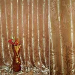 """Атлас жаккардовый 2-ст. коричневый светлый """"цветы"""", ш.280"""