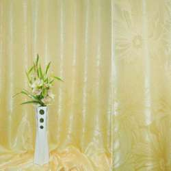 """Атлас жаккардовый 2-ст. желтый """"цветы"""", ш. 280м"""