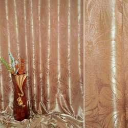 """Атлас жаккардовый 2-ст. коричнево-золотистый """"цветы"""", ш.280"""