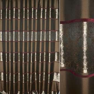 Жаккард коричневый в полосы растительного узора ш,270 оптом
