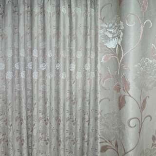 Софт жаккард квіти з завитками рожеві на бирюзово-сірому світлому тлі, ш.280 оптом