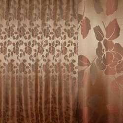 атлас жаккардовый бежево-золотой с тем-бордовыми цветами, ш.280