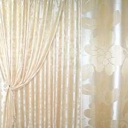 атлас жаккардовый молочно-бежевый с цветами, ш.280