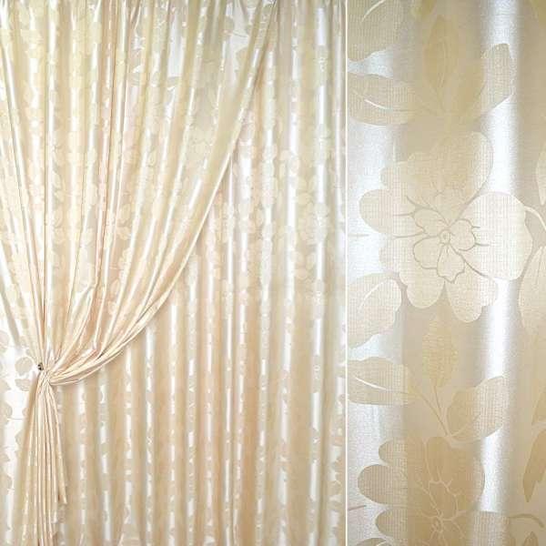 атлас жаккардовый молочно-бежевый с цветами, ш.280 оптом
