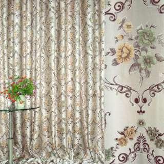 Жаккард св/серый с коричнев. вензелем и цветами ш.280 оптом