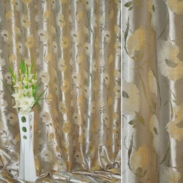 Атлас жаккардовый серебристо-желтый с маками ш.280 оптом