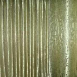 """Атлас жаккардовый оливково-серый """"волны"""" ш.280 оптом"""