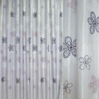 Атлас жак. порт. св.-серый в серые, корич. цветы ш.270 оптом