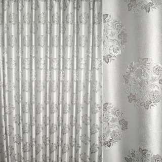 Жаккард з метаниткою сірий з сріблястим букетом квітів ш.280 оптом