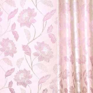 Жаккард з метаниткою молочно-рожевий з бузковим гілкою з квітами ш.280 оптом