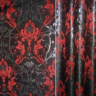 Жаккард з метаниткою чорний з червоними квітами і вензелями ш.280 оптом