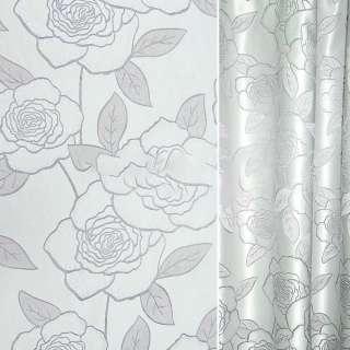 Жаккард з метаниткою сірий світлий з трояндами ш.280 оптом