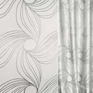 Жаккард з метаниткою сірий світлий з бежевим відтінком абстрактний квітка ш.280 оптом