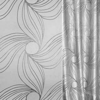 Жаккард з метаниткою сріблястий абстрактний квітка ш.280 оптом