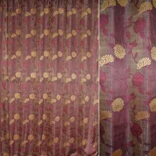 Жаккард портьерный бордо-золотистый с бордовыми завитками с органзой  ш.280 оптом