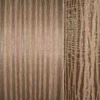 Органза портьерная бежево-рыжая на тканой основе с коричневыми провисами, ш.270 оптом